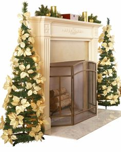 Christmas Fireplace / Mantle Decorating Idea - Pop Up Christmas Trees on Either Side (love the white poinsettia decorations!)
