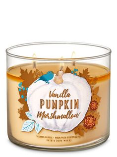 Vanilla Pumpkin Marshmallow Candle by Bath & Body Works Vela de baunilha Marshmallow de 3 pavios por Bath & Body Works