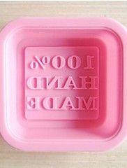 """""""100%-ban kézzel készített"""" betű alakú torta és szappan penész, szilikon 6 × 6 × 2 cm-es (2,4 × 2,4 × 0,8 hüvelyk)"""