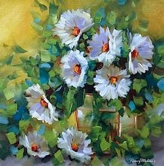 """Daily Paintworks - """"Petal Pinpoint Daisies and a San Diego Flower Painting Workshop by Nancy Medina"""" - Original Fine Art for Sale - © Nancy Medina"""