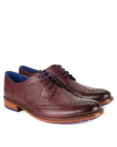 Derby brogue shoes - Dark Red | Shoes | Ted Baker UK