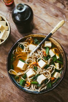 Soba, Tofu, Chives and Nori in a Miso Paste, Chicken, Shiitake, Soy Sauce and Fish Sauce Broth