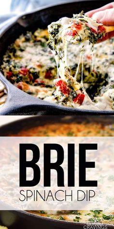 Brie Spinach Dip - my friends could not get over this appetizer! Its your favorite spinach dip made even more delicious with BRIE! Creamy, cheesy and so addicting! Easy Appetizer Recipes, Yummy Appetizers, Spinach Appetizers, Brie Appetizer, Dinner Recipes, Low Carb Low Calorie, Vegetarian Recipes, Cooking Recipes, Vegetable Recipes