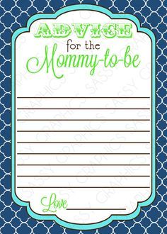 Instant Download Baby Shower Advice Card by SassyGraphicsDesigns
