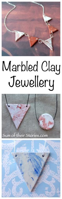 Easy to make Marbled Clay Jewellery with Air hardening clay