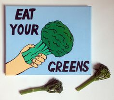 Eat Your Greens Broccoli Pop Art, Acrylic Painting On Canvas, Acrylic painting by Ian Viggars | Artfinder