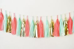 Mint Coral and Gold Tissue Paper Tassel Garland by GlamFeteByBri, $29.50