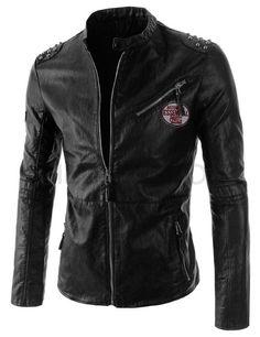 (JK6339-BLACK) Mens Slim Rider Style Shoulder Studs Point Zipper Pocket Leather Jacket