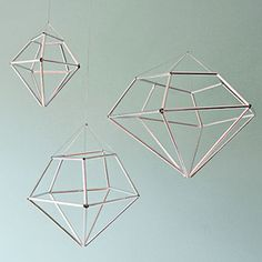 DIY Hanging diamond decor for your home or as ornaments for the holidays