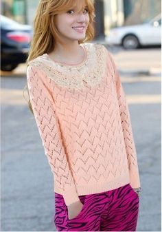 Lace Neck Sweater with Zigzag Eyelets https://www.maxfancy.com/
