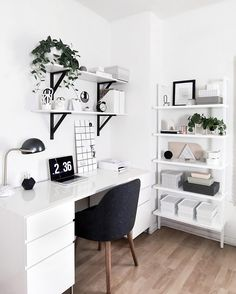 Monochrome #workspacegoals regram by Amy @homeyohmy in the USA Oh my @homeyohmy you've done it again! Amy just revealed her new workspace what a beauty it is! Check out that spacious desk the open shelved bookcase all those lovely @westelm pieces Enjoy your new workspace Amy! For more details hop over to Amy's blog @homeyohmy for the full post by workspacegoals