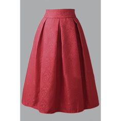 Yoins Red Vintage Jacquard Midi A-line Skirt ($23) ❤ liked on Polyvore featuring skirts, red, high-waisted skirts, a line midi skirt, pleated a line skirt, knee length a line skirt and red midi skirt