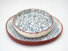 Tapas Plate  Ceramic Plate  Vintage Look Floral by susansimonini, $28.00