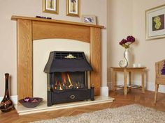 Emberglow, Outset, Gas Fire, Black Canopy and Fascia, Coal Fuel Bed