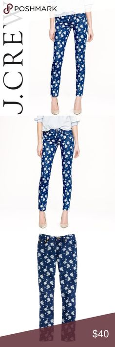 """J. Crew Cropped Matchstick Jean in Indigo Floral ✔️Cropped Inseam: 26"""" approx. ✔️98% Cotton•2% Spandex ✔️Excellent Used Condition J. Crew Jeans"""