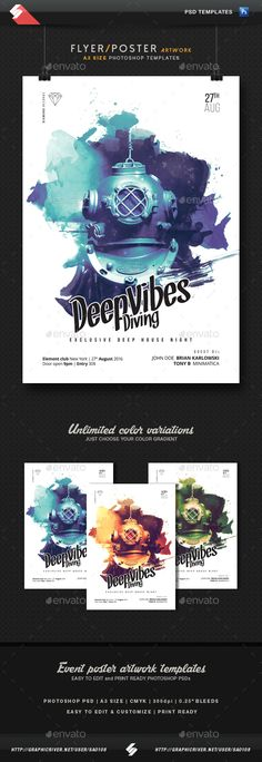 Deep Vibes Diving - Minimal Party Flyer Template A3