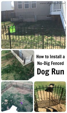 """How to Install an Easy No-Dig Fenced Dog Run in One Day. Keep the dog's """"business"""" in one area of the yard for less """"hunting."""""""