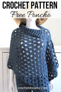 Free Crochet Cover Up Pattern Make this gorgeous crochet cover up pattern for layering this summer. The easy crochet pattern is suitable for beginners too. Crochet Vest Pattern, Crochet Cape, Easy Crochet Patterns, Crochet Scarves, Crochet Clothes, Scarf Patterns, Knitted Shawls, Crochet Stitches Free, Crochet Edgings