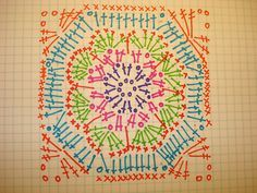 African Flower square pattern