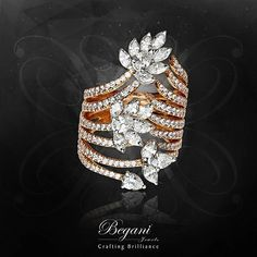 An exquisite rose gold cocktail ring studded with marquise and pear shaped diamonds; truly - a sight to behold. Diamond Bangle, Diamond Jewelry, Jewelry Rings, Jewelery, Jewelry Accessories, Jewelry Design, Latest Ring Designs, Cartier, Pear Shaped Diamond