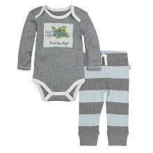 Burts Bees Baby Boys 2 Piece Grey Organic Mint Print Patch Bodysuit and Blue/Grey Striped Pant Set