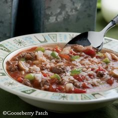Gooseberry Patch Recipes: Unstuffed Green Pepper Soup - all the flavors of stuffed peppers without the work!