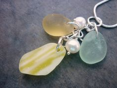 Sea Glass Necklace Yellow Beach Seaglass by TheMysticMermaid