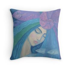 """""""The Pearl, Mermaid Princess, underwater fantasy art"""" Throw Pillows by clipsocallipso 