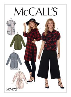 McCall's Misses' Raglan Sleeve, Button-Down Shirts and Tunics 7472