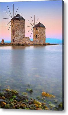 Windmills, Chios, Greece by Emmanuel Panagiotakis. Chios is the fifth largest of the Greek islands, situated in the Aegean Sea, 7 kilometres off the Anatolian coast. The island is separated from Turkey by the Chios Strait. Chios is notable for its exports Places Around The World, Oh The Places You'll Go, Places To Travel, Places To Visit, Around The Worlds, Travel Destinations, Greece Destinations, Travel Things, Travel Stuff