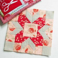 Farmer's Wife 1930s block no. 68 - Mrs Fay. This is a different version patched as a gift in pretty florals.