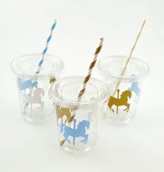 Carousel Party Cups - Carousel Horse Party, Carousel Baby Shower, Carousel Birthday, Blue and Gold, Carousel Birthday Parties, Carousel Party, Birthday Party Celebration, Baby Shower Favors, Baby Shower Themes, Baby Shower Invitations, Baby Theme, Paper Straws