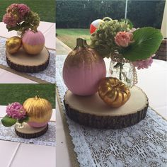 Pink and gold painted pumpkins for girls November birthday