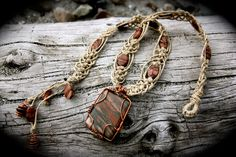 Wire Wrapped Picture Jasper Healing Hemp Necklace by SpectralSun