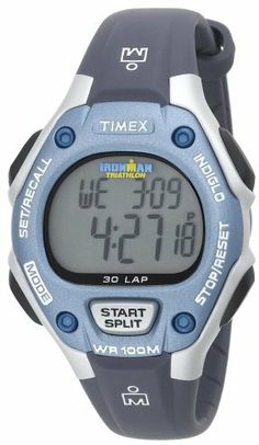 Timex Women's T5K018 Ironman Traditional 30-Lap Blue/Silver-Tone Resin Strap Watch on shopstyle.com