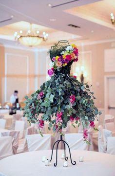 floral arrangement on wire framed mannequin