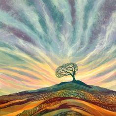 """Survivor by Rebecca Vincent - There's something compelling about a lone tree on a hillside, clinging on for dear life! This """"Survivor"""" looks as though it's been battling with the elements..."""