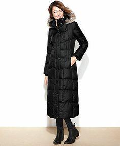 London Fog Hooded Faux-Fur-Trim Maxi Puffer Coat