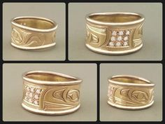 Do you like cluster set diamonds? Raven ring, 18K white and yellow gold with diamonds #nativeamerican #haida #aboriginal