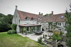 A modern Glass extension was built into this listed building, Yew Tree House. Building Extension, House Extension Design, Glass Extension, Extension Ideas, Garden Room Extensions, House Extensions, Cottage Extension, English Architecture, Bungalow Exterior