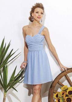 A-line One-shoulder Empire Chiffon Knee Length Bridesmaid Dress