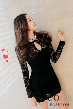 Black Beaded Collar Keyhole Neckline Floral Lace Sheath Dress