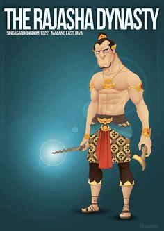 cartoon Illustration of Ken Arok (Rajasha) King Of Singasari Kingdom aka Tumapel Kingdom Malang, East Java, Indonesia
