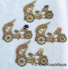 Embroidered Cycle Carriage Applique With Antique Silver & Gold Zardozi And Yellow / Grey / Blue / Pink Flower Basket Embroidery - Zardosi Embroidery, Kurti Embroidery Design, Hand Embroidery Dress, Hand Embroidery Videos, Floral Embroidery Patterns, Embroidery Motifs, Embroidery Fashion, Hand Embroidery Designs, Beaded Embroidery
