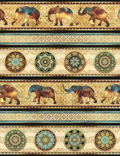 Caravan - Elephant Mandala Stripe - Quilt Fabrics from www.eQuilter.com