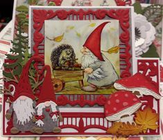 Marianne Design Cards, Diy And Crafts, Paper Crafts, Gnomes, Cardmaking, Scandinavian, Christmas Crafts, Projects To Try, Greeting Cards
