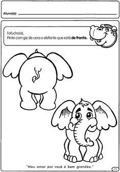 Atividades com conceitos perto e longe, de frente e de costas Feelings Words, English Activities, Cute Drawings, Worksheets, Coloring Pages, Kindergarten, Preschool, Doodles, Snoopy