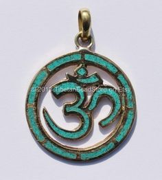 Carved Om Aum Ohm Brass Pendant with Turquoise by TibetanBeadStore