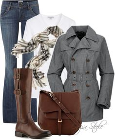 """""""Clouded Over"""" by orysa on Polyvore.  I really love this grey coat and some of the other pieces are cute."""