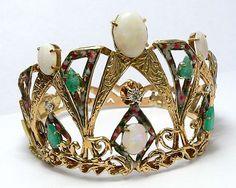 Vintage Emerald Diamond Enamel Opal Crown Themed Bracelet   eBay